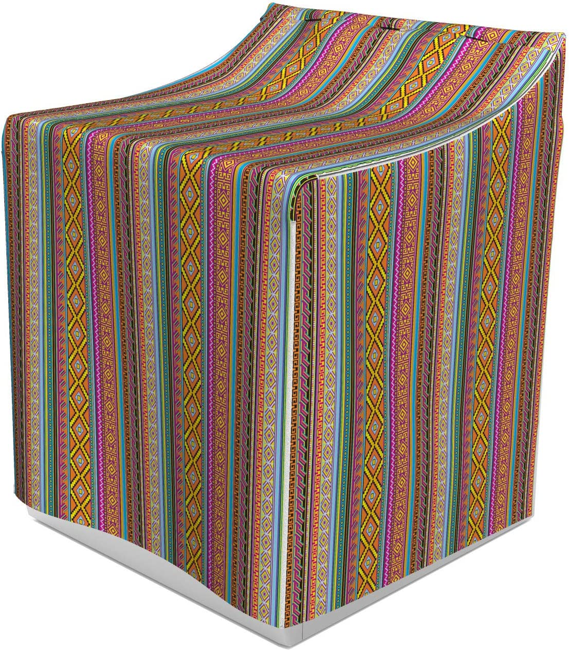 """Lunarable Ethnic Washer Cover, Folk Pattern with Effects and Geometric Forms Artwork, Suitable for Dryer and Washing Machine, 29"""" x 28"""" x 40"""", Orange Pink"""