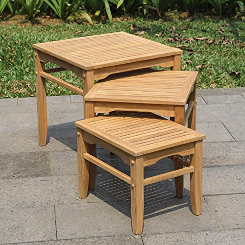 Cambridge Casual Solid Teak Wood Arie, Nesting Side Table