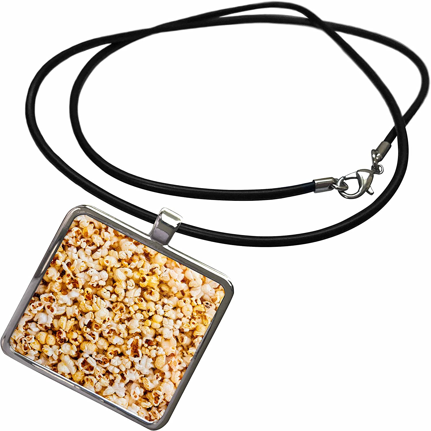 3dRose Alexis Photography - Food - Fresh Popcorn Behind The Glass - Necklace with Rectangle Pendant (ncl_271975)