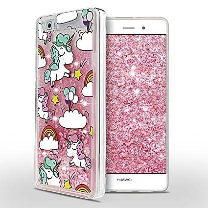 SpiritSun Funda Huawei P8 Lite, Líquido Carcasa Unicornio Patrón Soft Tapa Glitter Funda Suave Silicona Cristal Gel Protectora Case Ultra Delgado y ...