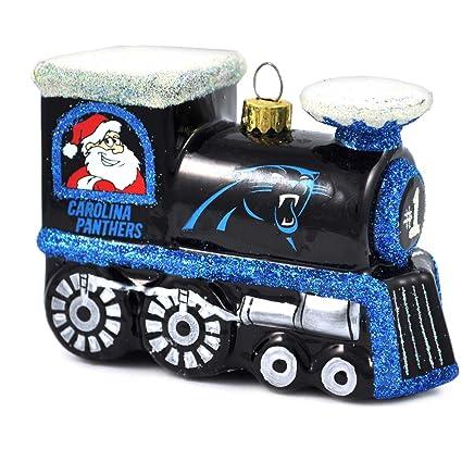 Amazon.com: NFL Carolina Panthers vidrio soplado tren adorno ...