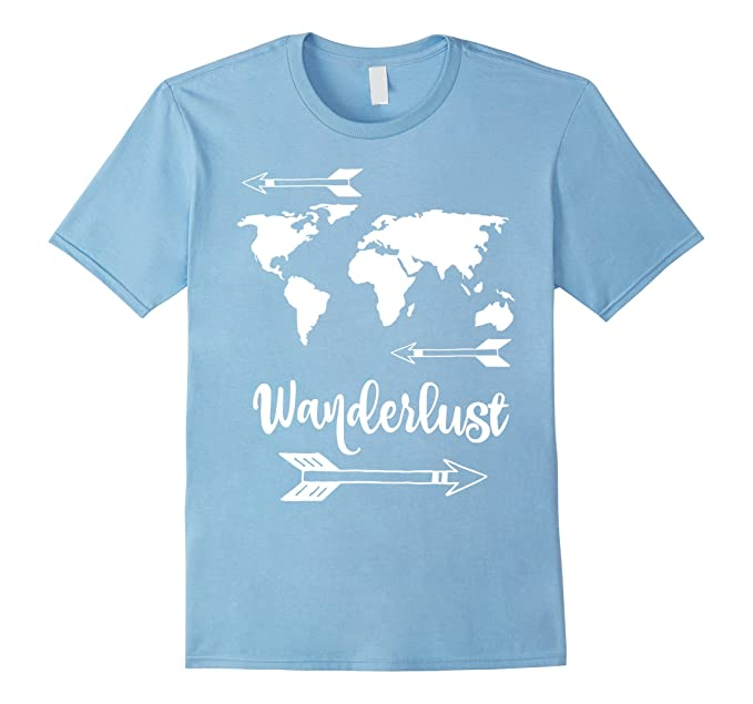 c62e482e8fe Mens Wanderlust Shirt - Travel World Map Adventure T-Shirt 2XL Baby Blue