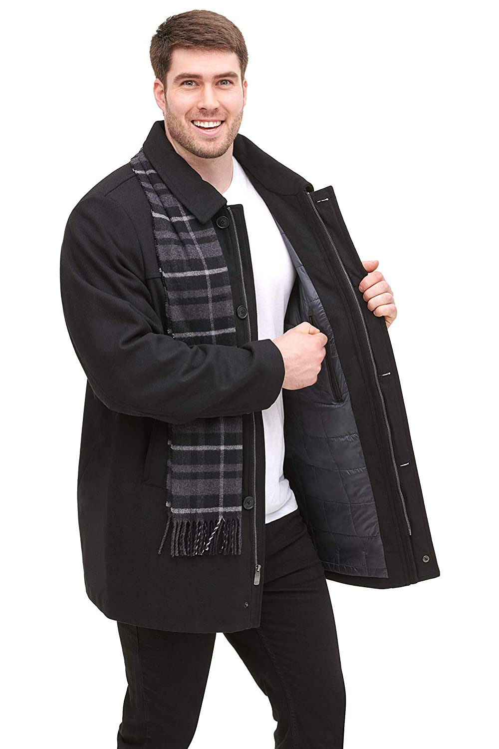 Dockers Mens Weston Wool Blend Car Coat with Scarf Regular and Big /& Tall Sizes