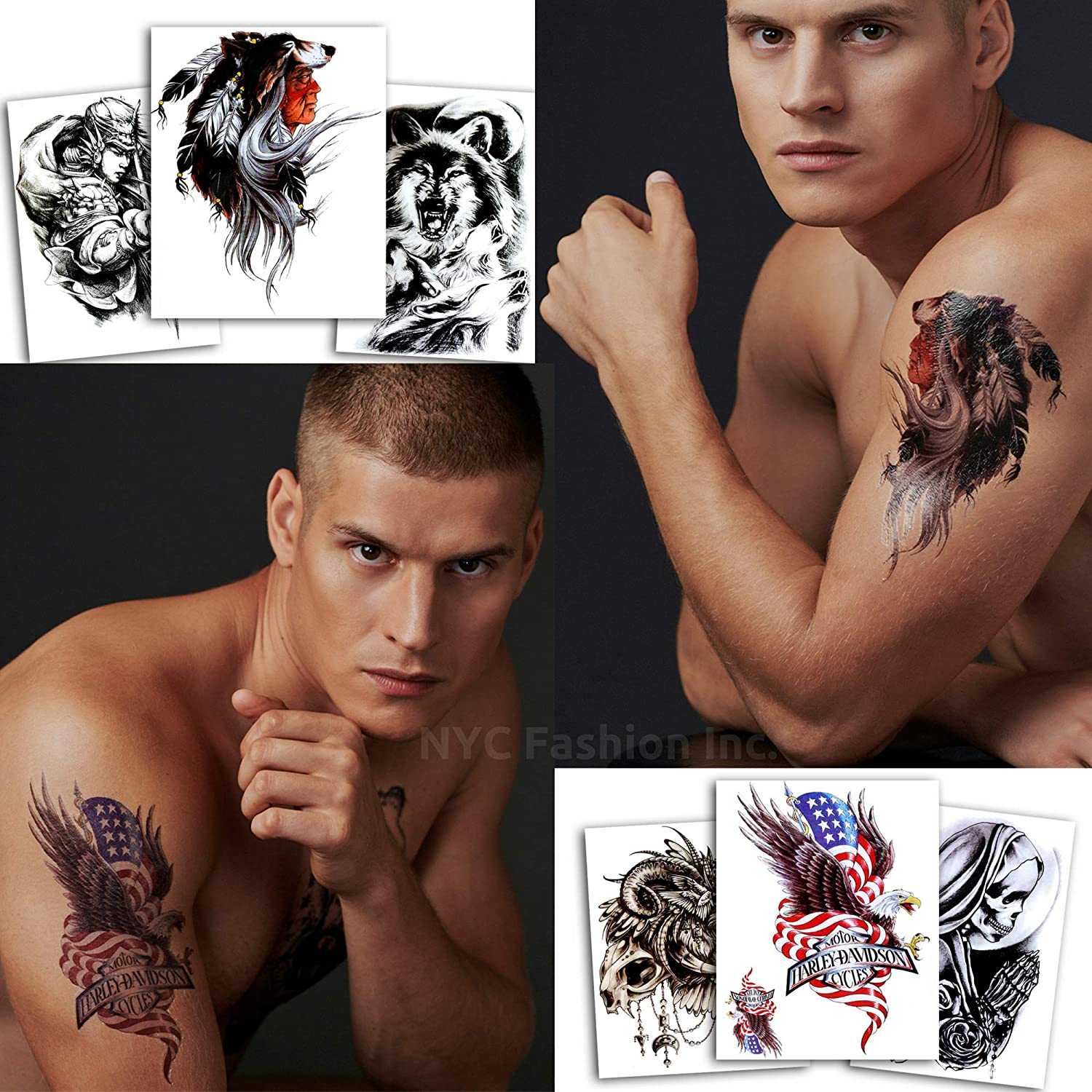 36c56ca94 Amazon.com : 6 Cool Temporary Tattoos - Large Size - Harley, Biker, Indian  Chief, Warrior, Wolf and Skull Tattoos - For Men, Adults and Teens for Arms  Legs ...