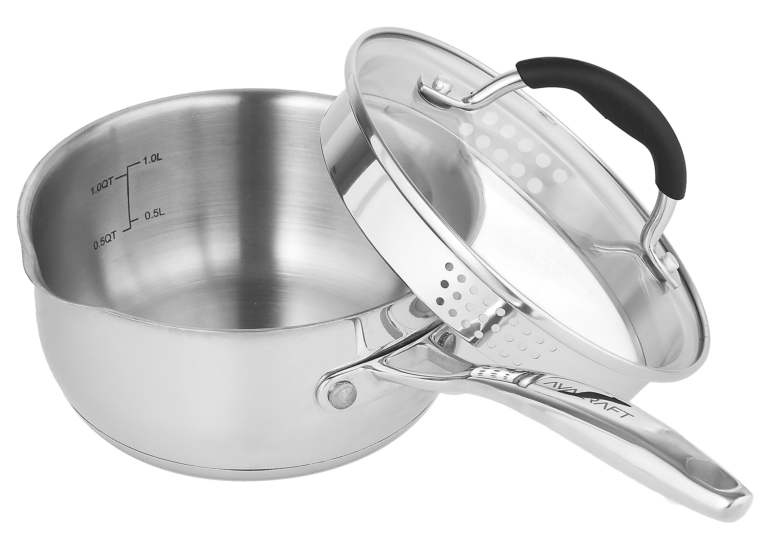 AVACRAFT Stainless Steel Saucepan with Glass Lid, Strainer Lid, Two Side Spouts for Easy Pour with Ergonomic Handle, Multipurpose Sauce Pan with Lid, Sauce Pot (1.5 Quart)