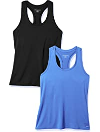 cf2566f83d141 Amazon Essentials Womens Standard 2-Pack Tech Stretch Racerback Tank Top