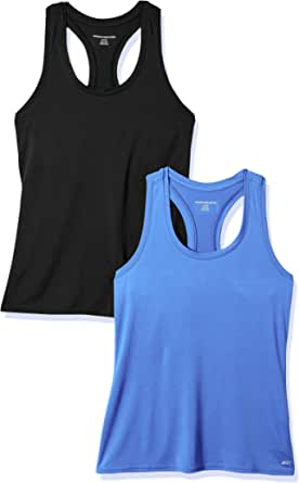 Amazon Essentials Women's 2-Pack Tech Stretch Relaxed-Fit Racerback Tank Top