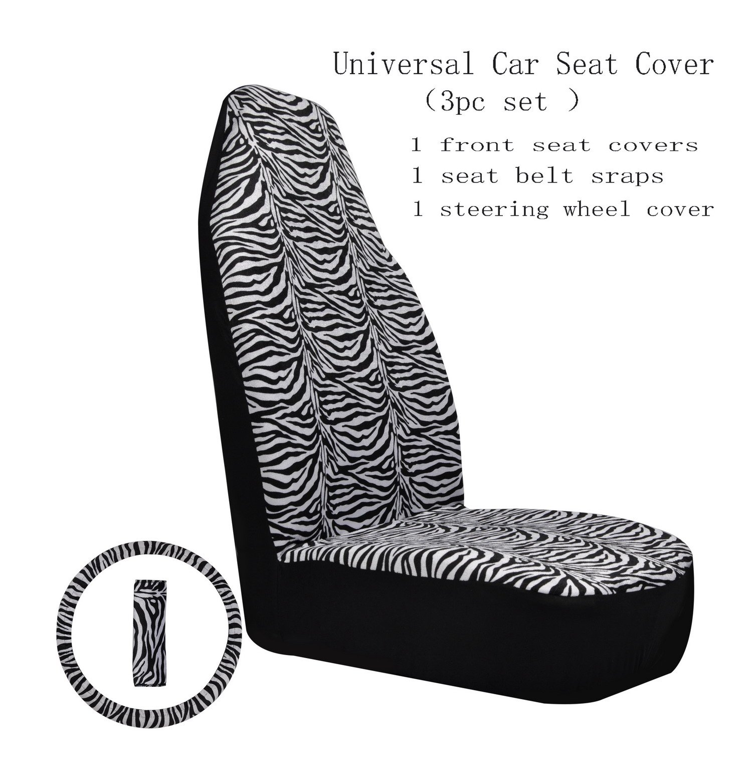 Plush Front Seat Covers Universal Zebra Cloth Seat protection Cover with Steering Wheel Cover Seat Belt Cover