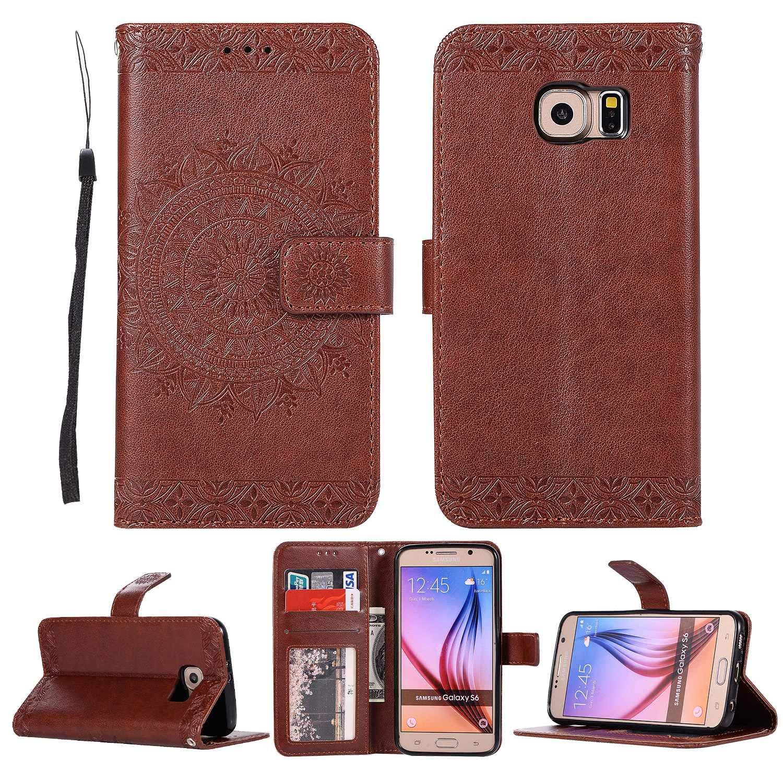 HCUI Compatible avec Galaxy S6 Coque Cuir Étui Wallet Housse, Portefeuille de Protection Coque avec Fonction Support Magnétique Pochette Antichoc Coque pour Galaxy S6 - marron.