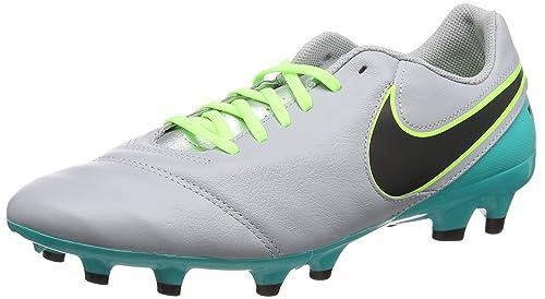 Nike Tiempo Genio II Leather FG, Chaussures de Football Homme, Multicolore (Wolf Grey/Black-CLR Jade-Metallic Silver), 43 EU
