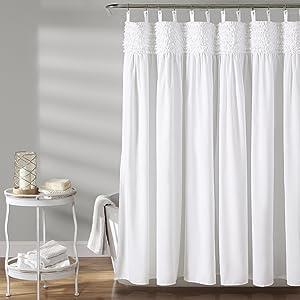 "Lush Decor, White, 72"" x 72"" Lydia Ruffle Shower Curtain"