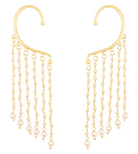 469e95495 Touchstone Indian Bollywood Innovative Ear Shape lucrative Look Faux Pearls  hangings Long Bridal Chandelier Designer Jewelry