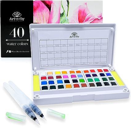 Palette Portable De 40 Couleurs Aquarelle Avec 2 Pinceau A