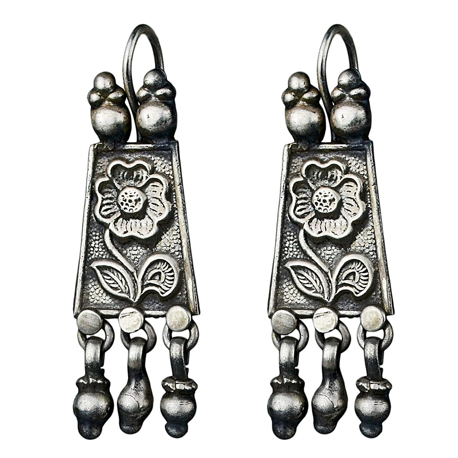 925 Sterling Oxidized Silver Plated Dangle Earrings Jewelry 10.78 g c