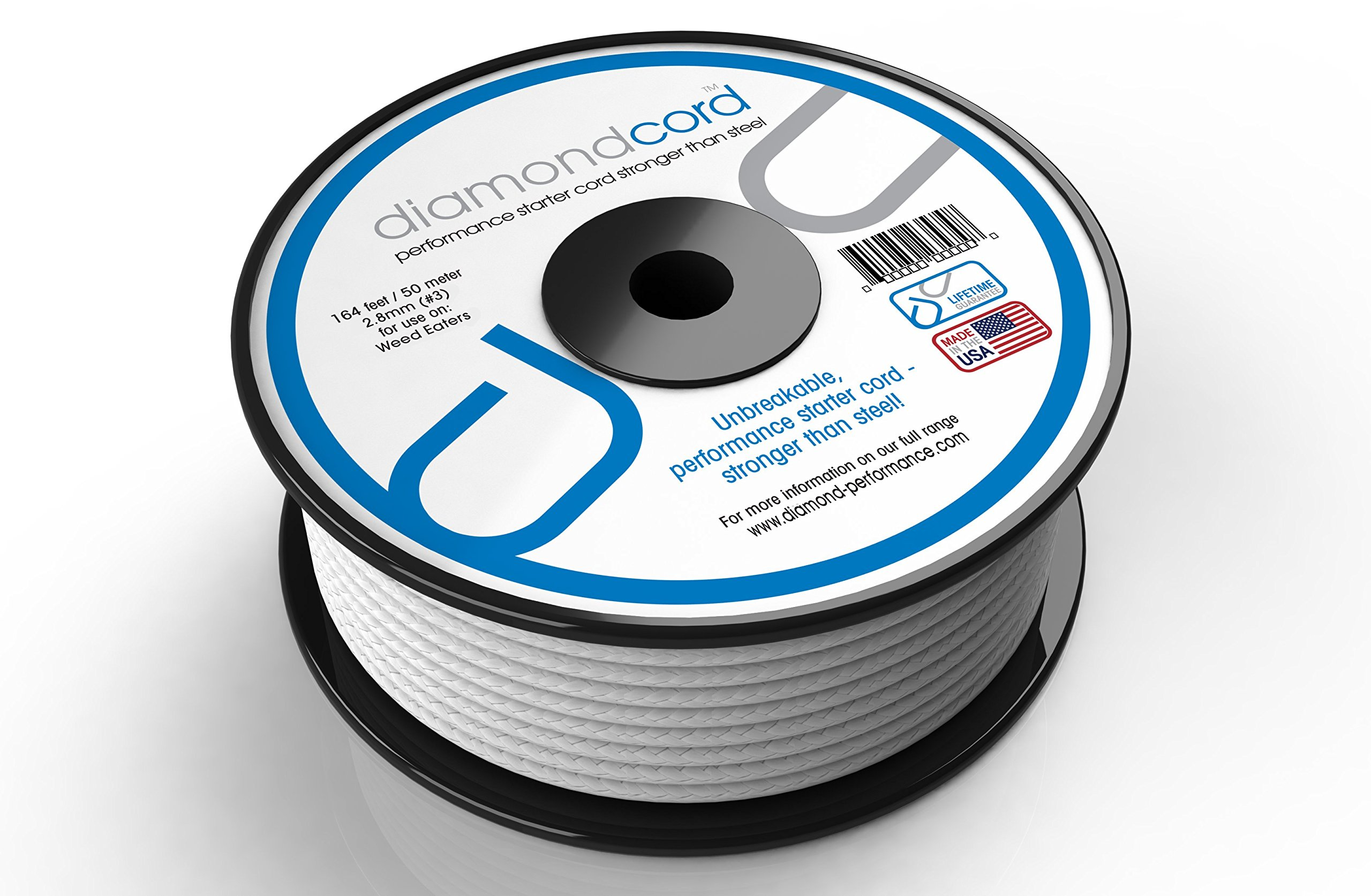 diamondcord 164 Feet by 2.8 mm Unbreakable Gas Engine Pull Starter Recoil Replacement Cord Rope Bulk Spool for Lawn Mowers, Weed Trimmers, and Chainsaws