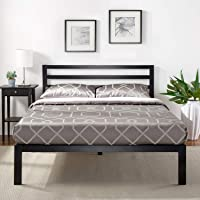 Zinus Black Modern Metal Steel Platform Double Size Bed Frame Headboard Base Mattress Foundation | Wooden Slats Under…