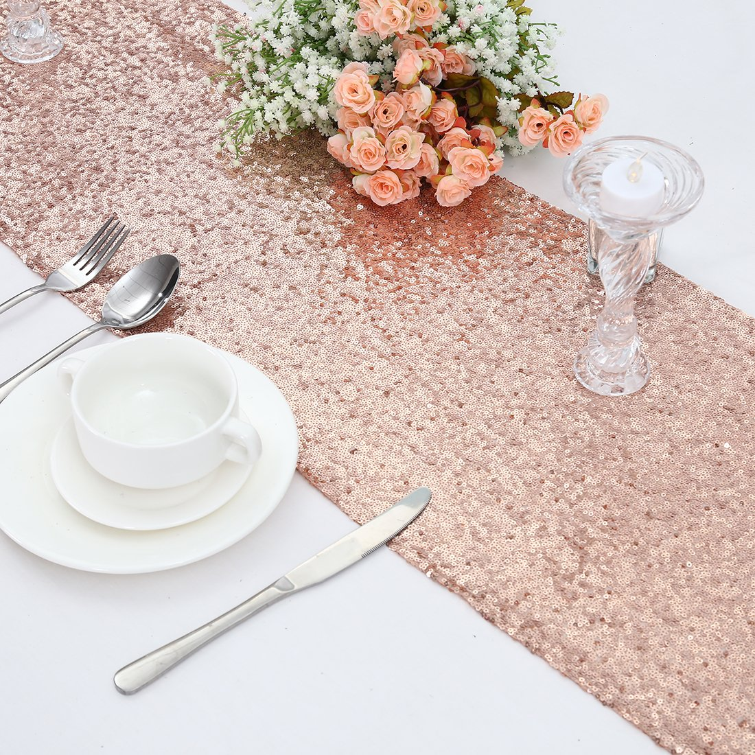 3e Home Rose Gold Sequin Table Runner for Wedding Party Bridal Shower, Runner 12x108