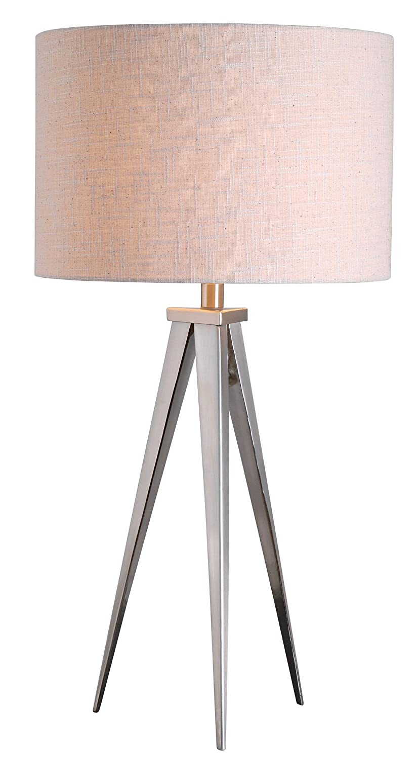 """Kenroy Home 32262BS Foster Table Lamp, 15"""" x 15"""" x 29"""", Brushed Steel Finish"""