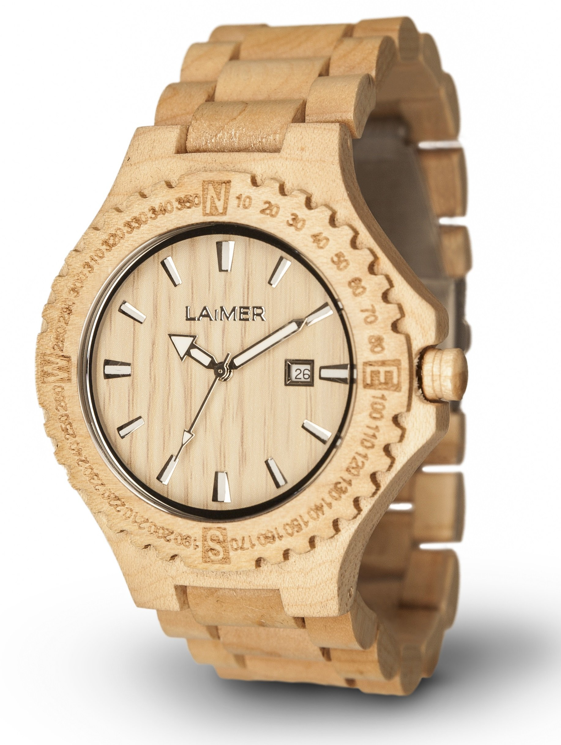 LAiMER Men's Wooden Watch JAKOB - Wrist Watch made of natural Maple Wood - timeless & bright Design