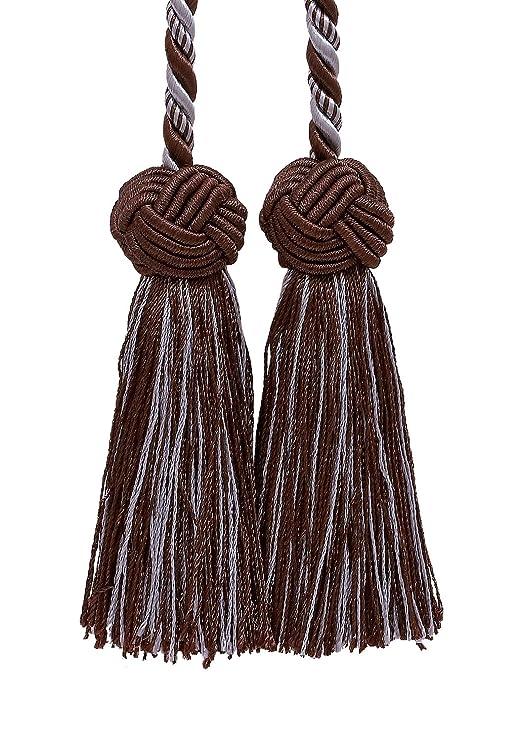 Doble borla/borla de color marrón y azul claro/corbata w/borlas de ...