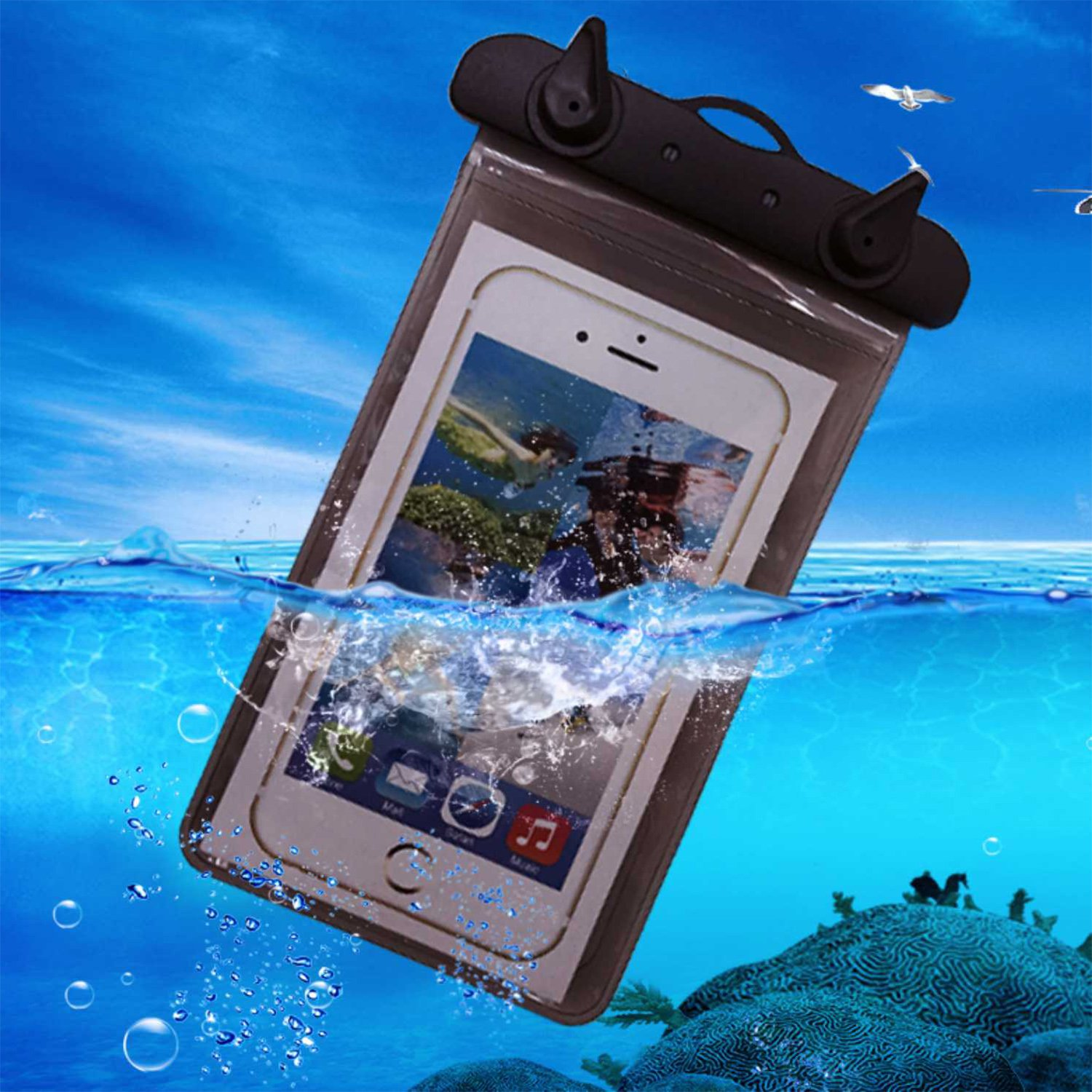 Dark grey free size Dandelion Waterproof Dry Bag  Roll Top Dry Compression Sack Keeps Gear Dry for Kayaking, Beach, Rafting, Boating, Hiking, Camping and Fishing with Waterproof Phone Case
