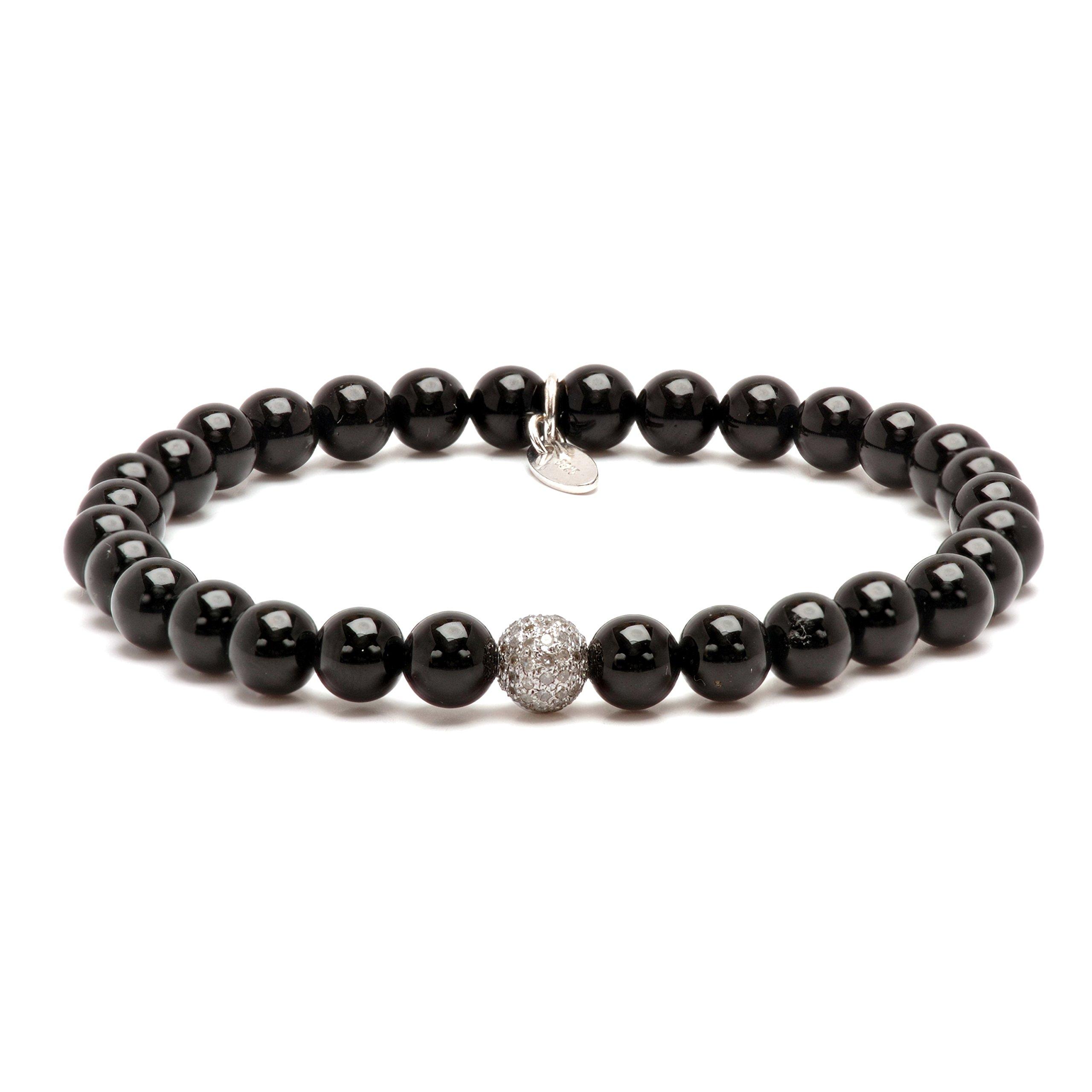 Mens Onyx Diamond Sterling Silver Bead Stretch Bracelet (White)