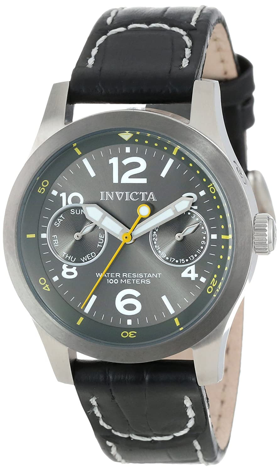 Invicta Women s 14144 I-Force Charcoal Grey Dial Black Leather Watch