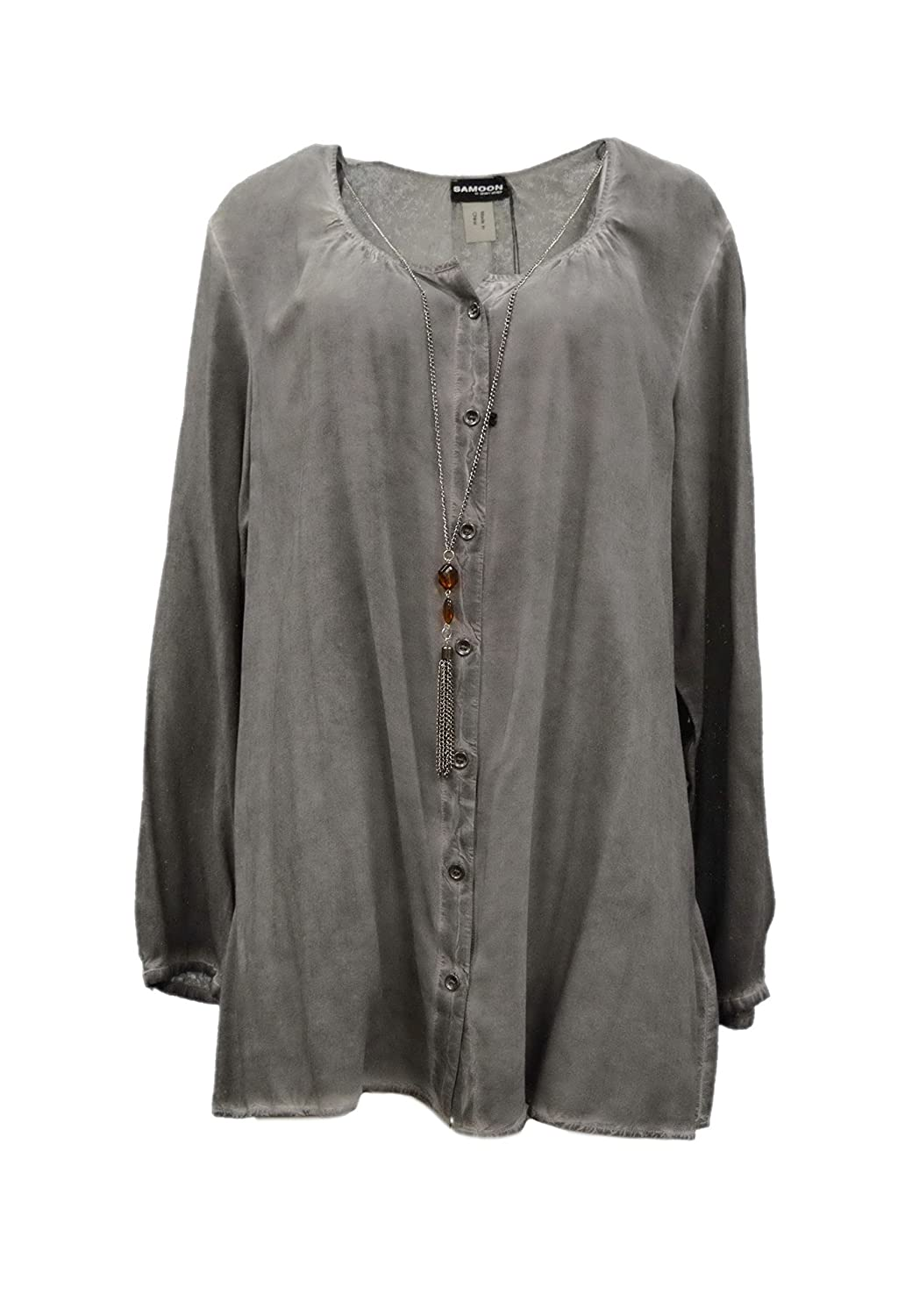 SAMOON BY GERRY WEBER Womens Button Front Tunic Blouse Shirt Grey Sz 16 220535E