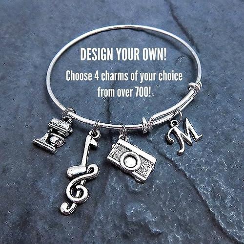 ecaada579 Amazon.com: Custom Design Your Own Charm Bracelet Expandable Bangle Personalized  Jewelry Pick Your Charms: Handmade