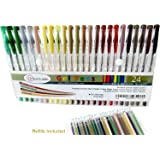 24 Earth Tone Gel Pen Set - with Refills = 48! Perfect for Your Nature Scenes & Animals – Premium & Vivid Colors in Glitter, Metallic, Neon, Pastels & Classic - Fast Drying Ink!