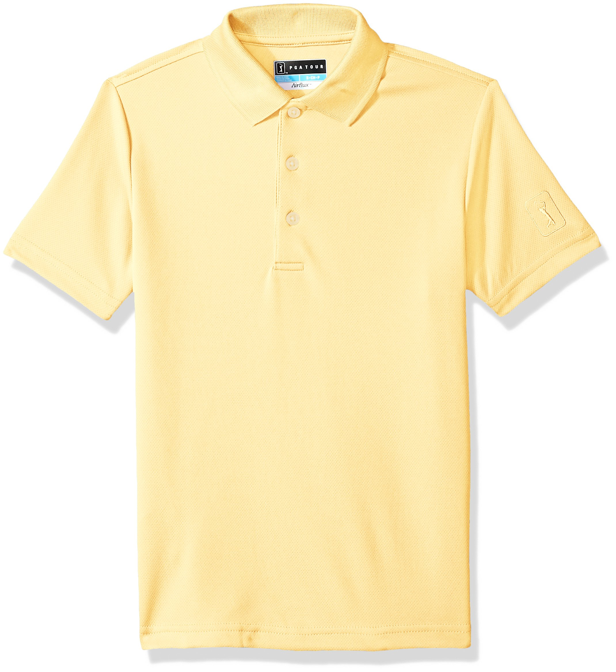 PGA TOUR Big Boys' Short Sleeve Airflux Polo, Pale Banana, S8