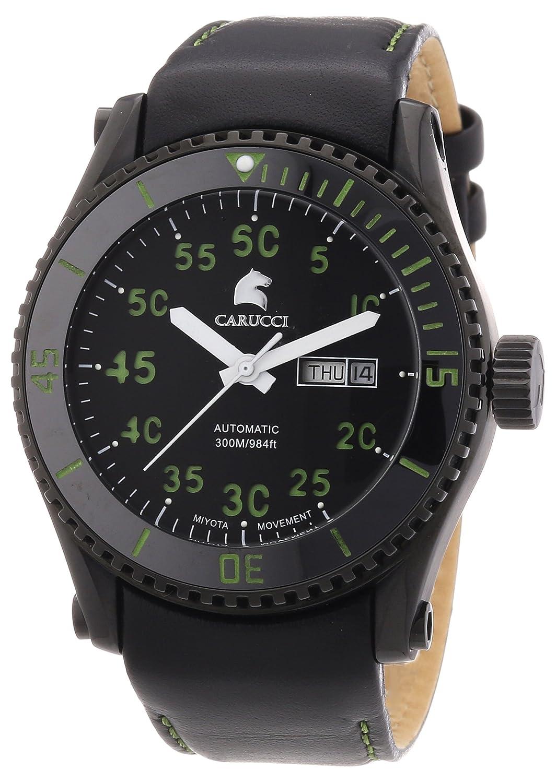 Carucci Watches Tarent CA2196BK-GR - Reloj analógico automático para Hombre, Correa de Cuero Color Negro