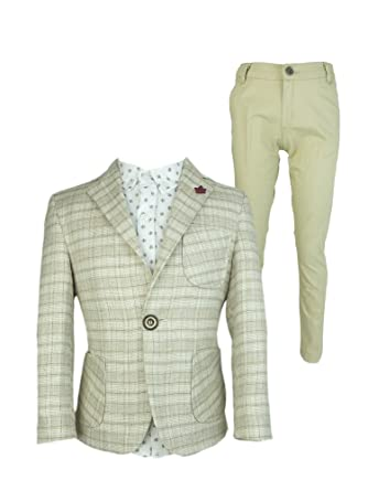 f6858217b Couche TOT Boys 4 Piece Summer Linen and Cotton Party Checkered Suit: Amazon .co.uk: Clothing