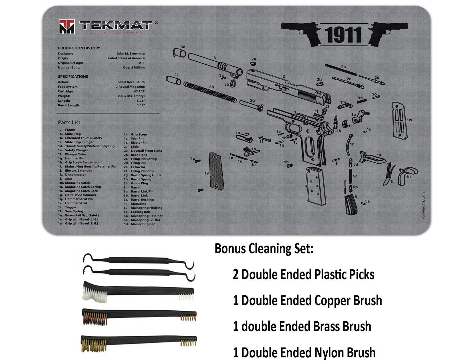 TekMat 11-Inch X 17-Inch Handgun Cleaning Mat Universal 1911 Bonus 5 oc Gun Cleaning Brush & Pick Set by EDOG (Image #3)