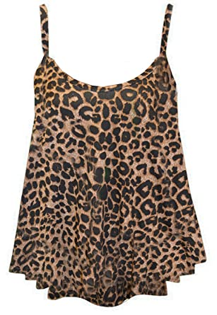 8917df1eb7c2 mafhh55® NEW LADIES WOMENS PLUS SIZE PRINTED SLEEVELESS SWING VEST STRAPPY  FLARED CAMI TOPS DRESSES (UK 12/14, LEOPARD PRINT): Amazon.co.uk: Clothing