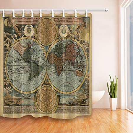 KOTOM Wanderlust Decor Shower Curtains By JAWO Traditional Antiqued ...