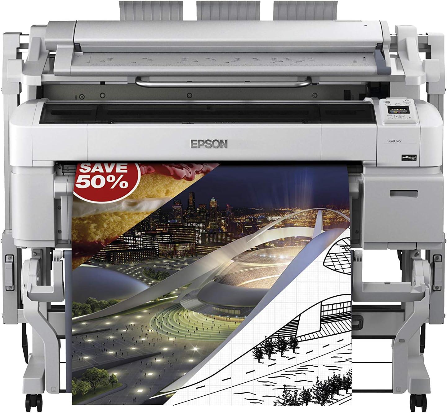 Epson SureColor SC-T5200 PS MFP - Impresora de gran formato (2880 x 1440 DPI, Inyección de tinta, ESC/P-R,HP-GL/2,PostScript 3, Cian, Magenta, Negro mate, Foto negro, Amarillo, A0 (841 x 1189 mm), 0.08 -
