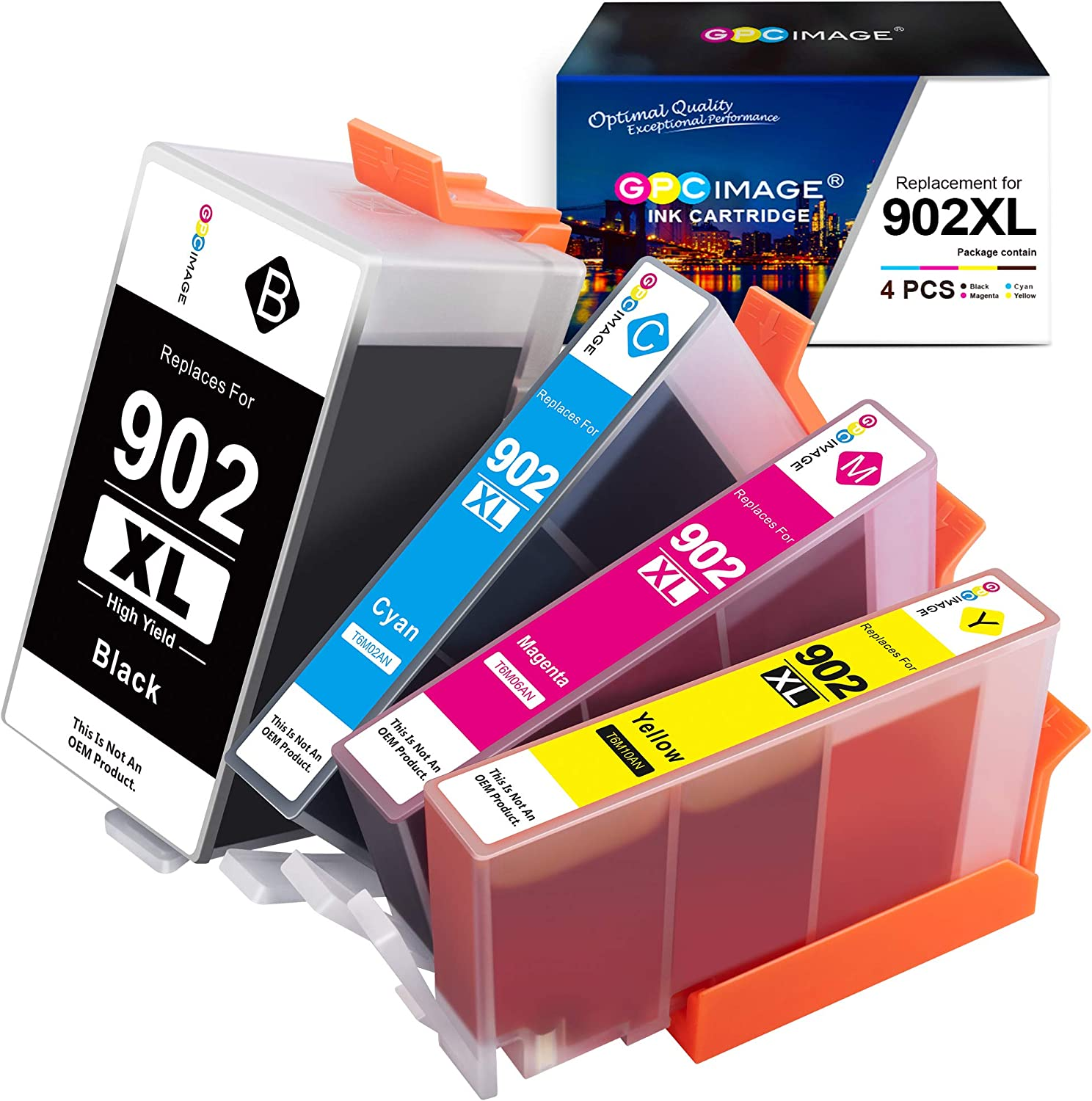GPC Image Compatible Ink Cartridge Replacement for HP 902XL 902 Ink Cartridges to use with Officejet 6978 6968 6962 6958 6970 6950 6960 Printer (Black, Cyan, Magenta, Yellow, 4 Pack)