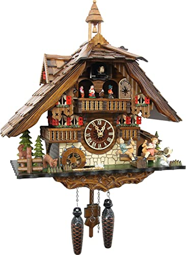 Cuckoo-Palace Large German Cuckoo Clock – The Seesaw Mill Chalet with Quartz Movement with Moving Seesaw – Black Forest Clock