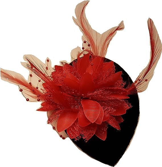 Hat Fascinator 40s50s Brown Velvet Teardrop Hat Feather Flower fascinator