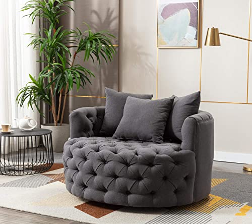 Modern Akili Swivel Accent Chair Round Barrel Chair