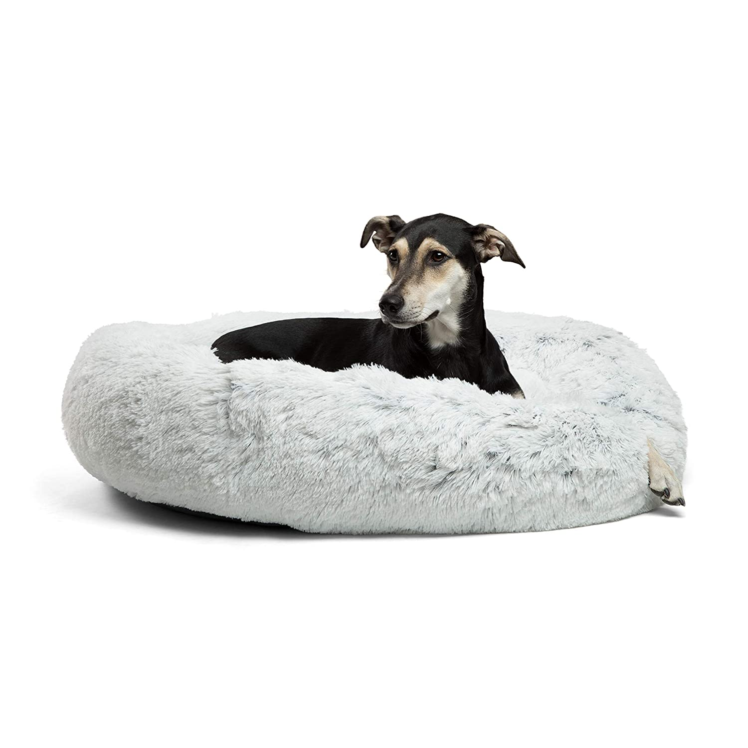 Best Friends by Sheri DNT-SHG-FRS-3636 Luxury Shag Fuax Fur Donut Cuddler (Multiple Sizes) – Cat and Dog B36 x36 , Frost