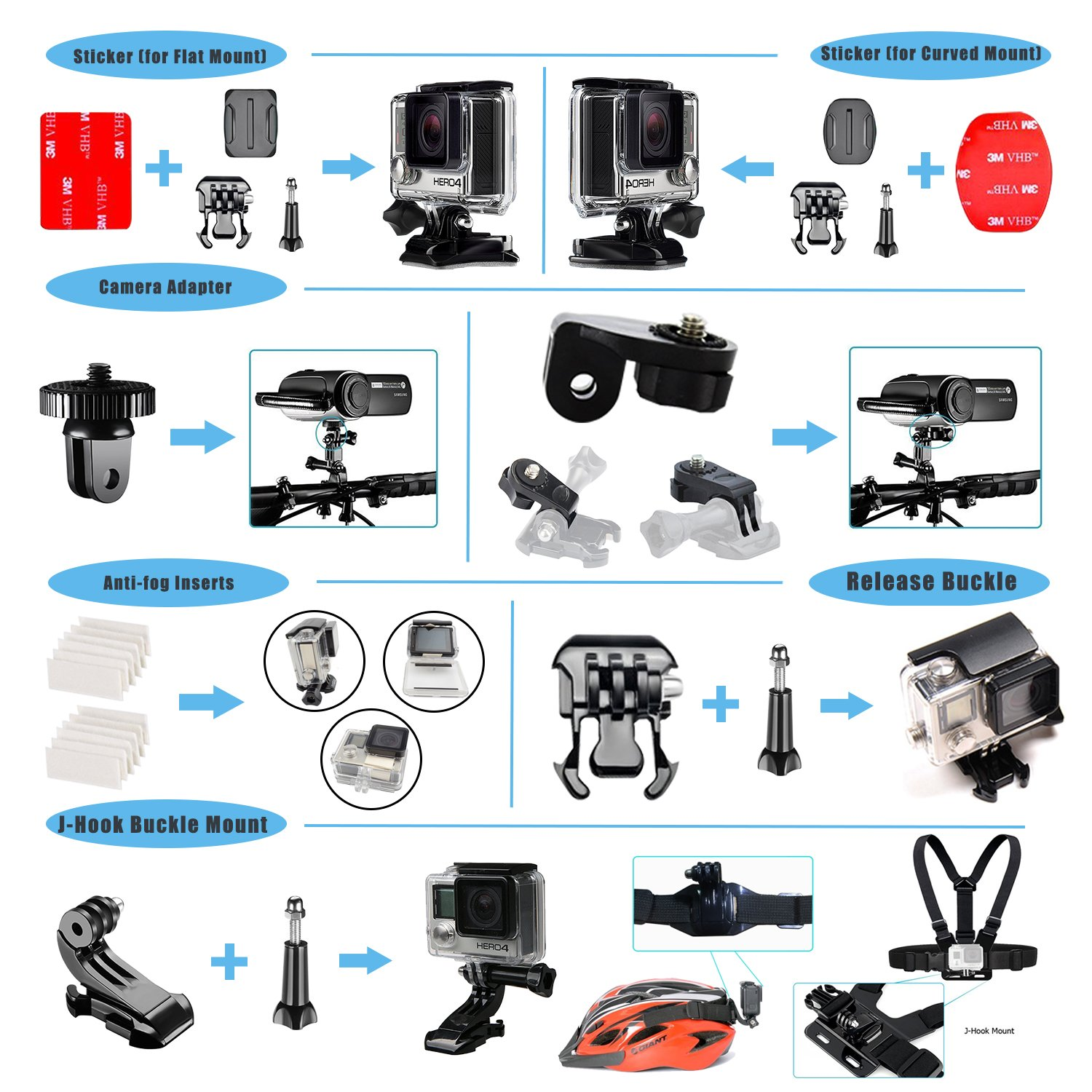 Followsun 62-In-1 Sports Action Camera Accessories Kit for GoPro Hero Session//5 Hero 1 2 3 3 4 5 SJ4000 SJ7000 DBPOWER AKASO VicTsing APEMAN WiMiUS Rollei QUMOX Lightdow Campark And Sony Sports DV