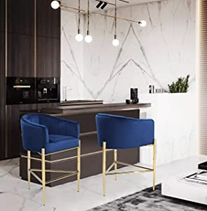 Iconic Home FCS9488-AN Cyrene Counter Stool Chair Velvet Upholstered Shelter Arm Shell Design 3 Legged Gold Tone Solid Metal Base Modern Contemporary, Navy