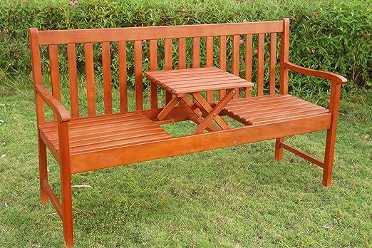 LD Banco de jardín, asiento Banco plegable con mesa Jardín Banco de madera Picnic: Amazon.es: Jardín
