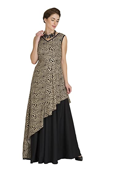 62d45f0c7c6 Raas Prêt Women s Crepe Printed Flared Maxi Gown  Amazon.in ...