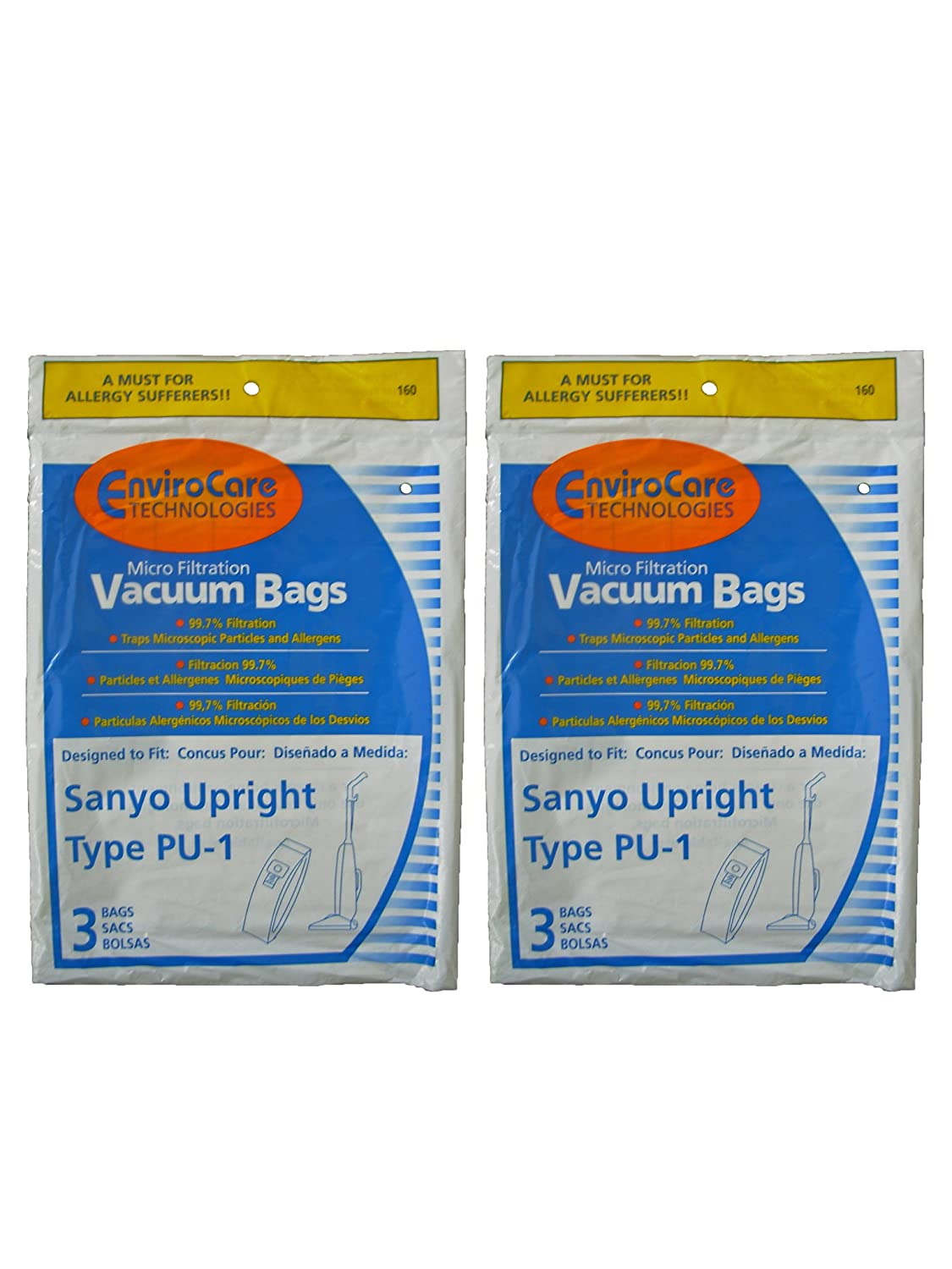 6 Sanyo Type PU-1 Microfiltration Upright Vacuum Cleaner Bags