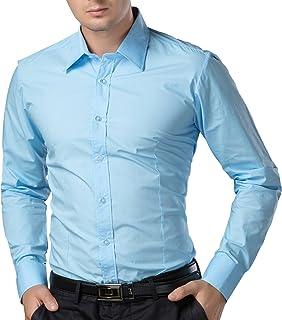 PaulJones Camicia da Uomo Slim Fit Shirt Manica Lunga Casual