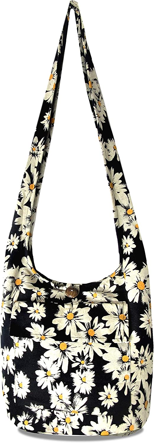 Fully Lined Daisy Crossbody Bag with Front Phone Pocket - Floral Boho Thai Hippie Hobo Sling Shoulder Purse - Cotton, Medium