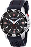 Wenger Sea Force Chrono Men's Quartz Watch with Black Dial Analogue Display and Black Silicone Strap 010643102